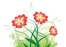 Ilustración con las flores rojas Fotografía de archivo libre de regalías