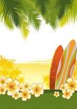 Ilustración con las tablas hawaianas Fotografía de archivo libre de regalías