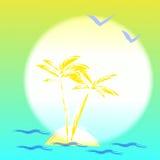 Ilustración con palmtree y la isla Imagen de archivo libre de regalías