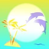 Ilustración con palmtree y los delfínes Fotos de archivo libres de regalías