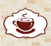 Ilustración con una taza de café en una pared de ladrillo Fotografía de archivo libre de regalías