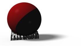 ilustración 3D Bandera de Antifa en una bola que machaca las palabras libremente Imagen de archivo