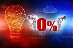 ilustración 3D Hombre blanco el 0% del aviso de la venta con el megáfono 3d rinden Fotografía de archivo