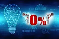 ilustración 3D Hombre blanco el 0% del aviso de la venta con el megáfono 3d rinden Foto de archivo libre de regalías