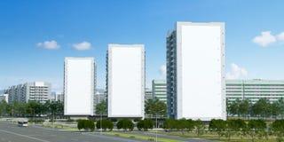 ilustración 3D Tres carteles vacíos en los extremos de tres edificios para acomodar disposiciones de publicidad ilustración del vector