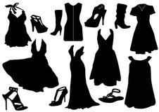 Ilustración de algunas alineadas del negro con los zapatos stock de ilustración