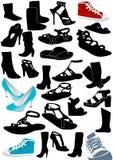 Ilustración de algunos zapatos de la mujer ilustración del vector