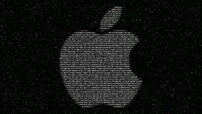 Ilustración de Apple Inc logotipo hecho de símbolos hexadecimales que destellan en la pantalla de ordenador Representación editor almacen de video
