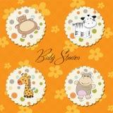 Ilustración de diversos items para el bebé Fotografía de archivo libre de regalías