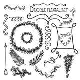 Ilustración de Doodles a mano y de elementos del diseño Foto de archivo libre de regalías