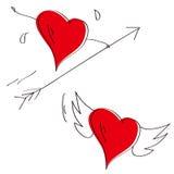 Ilustración de dos corazones Foto de archivo
