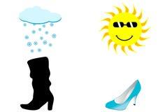Ilustración de dos zapatos, de un esquí lluvioso y asoleado Foto de archivo