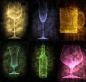 Ilustración de Grunge con la botella y los vidrios libre illustration