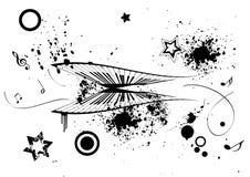 Ilustración de Grunge de un piano y de las notas de la música Imágenes de archivo libres de regalías