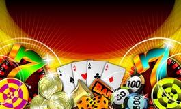 Ilustración de juego con los elementos del casino Foto de archivo libre de regalías