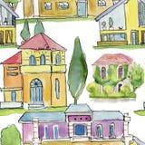Ilustración de la acuarela Casas y árboles Backround inconsútil Imagenes de archivo