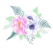 Ilustración de la acuarela Cubo con los elementos florales Wi del ramo Fotografía de archivo