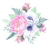 Ilustración de la acuarela Cubo con los elementos florales Wi del ramo Fotografía de archivo libre de regalías