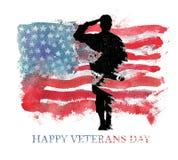 Ilustración de la acuarela Día de Vegterans Bandera de América, los E.E.U.U. Fotos de archivo libres de regalías