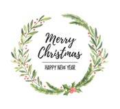 Ilustración de la acuarela Guirnalda del laurel de la Navidad Perfeccione para adentro