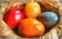 Ilustración de la acuarela, huevos de Pascua stock de ilustración