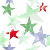 Ilustración de la acuarela Modelo de las estrellas transparentes de tonalidades rosadas, azules, grises, marrones brillantes Imagenes de archivo