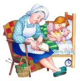 Ilustración de la acuarela Niños en dormitorio ilustración del vector
