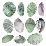 Ilustración de la acuarela Sistema de las piedras transparentes de sombras verdes y grises blandas Imagen de archivo