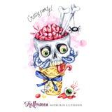 Ilustración de la acuarela Tarjeta de los días de fiesta de Halloween Cono pintado a mano de la galleta, cráneo con los cerebros  Foto de archivo libre de regalías