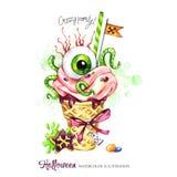 Ilustración de la acuarela Tarjeta de los días de fiesta de Halloween Cono pintado a mano de la galleta, ojo humano con crema y g Fotos de archivo
