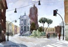 Ilustración de la acuarela Vew europeo Calle en Roma Imagen de archivo libre de regalías