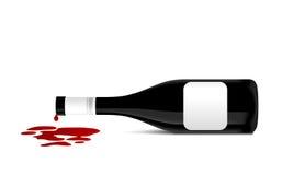 Ilustración de la botella de vino que derrama el vino rojo Foto de archivo
