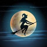 Ilustración de la bruja en la escoba. Imágenes de archivo libres de regalías