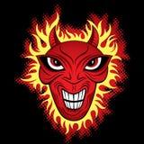 Ilustración de la cara del horror del demonio del diablo stock de ilustración