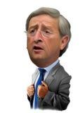 Ilustración de la caricatura de Jean Claude Juncker Imágenes de archivo libres de regalías