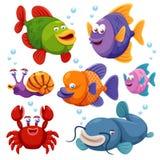Ilustración de la colección de los pescados stock de ilustración