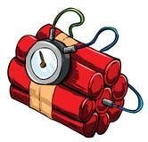 Ilustración de la dinamita con el dispositivo que mide el tiempo Imagen de archivo libre de regalías