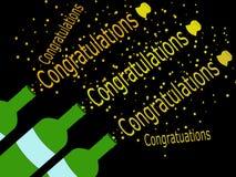 Ilustración de la enhorabuena del corcho que hace estallar Imagenes de archivo