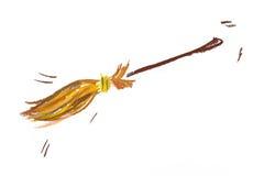 Ilustración de la escoba de bruja en el fondo blanco Fotografía de archivo