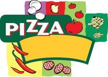 Ilustración de la escritura de la etiqueta de la pizza Imagen de archivo libre de regalías