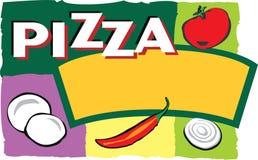 Ilustración de la escritura de la etiqueta de la pizza Fotos de archivo libres de regalías