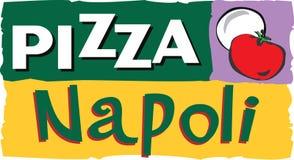 Ilustración de la escritura de la etiqueta de la pizza Imagen de archivo