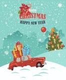 Ilustración de la Feliz Navidad Diseño de tarjeta del paisaje de la Navidad de coche rojo retro con el regalo en el top Fotografía de archivo