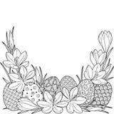 Ilustración de la flor de la primavera de azafranes y de los egss de pascua Elementos del vector aislados Imagen blanco y negro p stock de ilustración