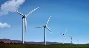 Ilustración de la granja de la turbina de viento Imagen de archivo libre de regalías