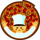 Ilustración de la historieta de un cocinero con una pizza Fotografía de archivo