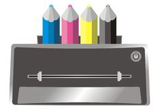 Ilustración de la impresora del color (color) y ciánico, m Imágenes de archivo libres de regalías
