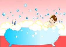 Ilustración de la muchacha atractiva en la bañera Foto de archivo libre de regalías