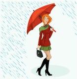 Ilustración de la muchacha con el paraguas ilustración del vector