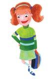 Ilustración de la muchacha de la escuela Foto de archivo
